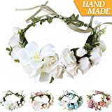 Handmade Boho Flower-Headband Flower-Crown Hair Wreath Halo Garland Headpiece Ribbon Festival Wedding Party