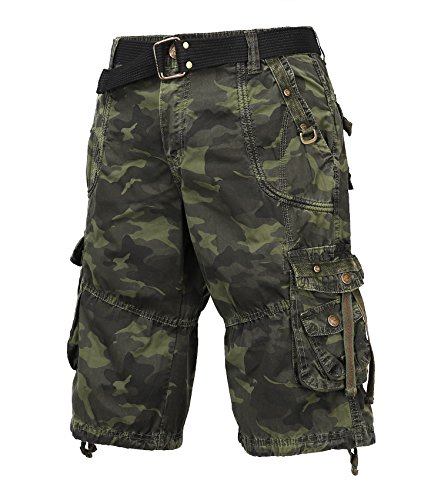 TWO BLOCKS OFF Men's Classic-Fit Cargo Short/Waist Belt/Multiple Pockets Military Green Camo Size (Department Shorts)