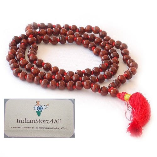 IndianStore4All Raktachandana Red Chandan Sandalwood Mala 108 +1 Prayer Beads Rosary ()