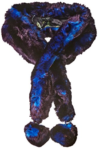 Ted Baker London Women's Neola Micro Bow Long Faux Fur Scarf, Bright Blue, One Size by Ted Baker