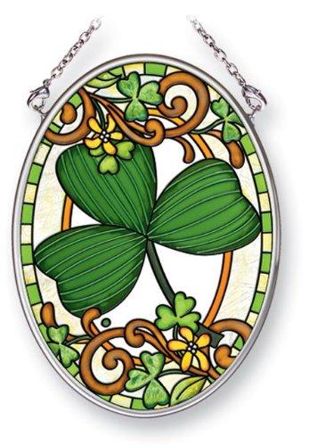 Amia 41455 Irish Clover 3-1/4 by 4-1/4-Inch Oval Sun Catcher, Small