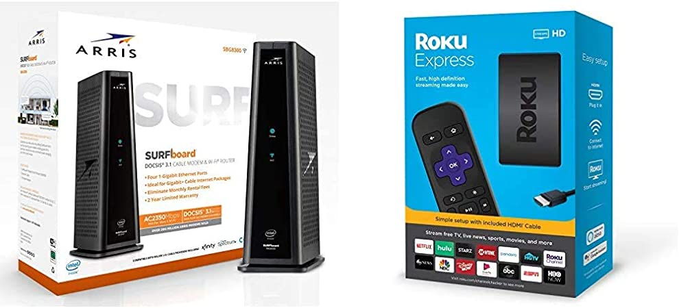 black Xfinity /& others ARRIS SURFboard SBG8300 DOCSIS 3.1 Gigabit Cable Modem /& AC2350 Dual Band Wi-Fi Router Renewed Spectrum Approved for Cox