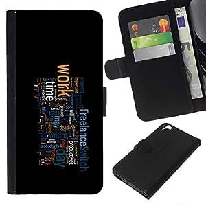 YiPhone /// Tirón de la caja Cartera de cuero con ranuras para tarjetas - TIPOGRAFÍA TRABAJO - HTC Desire 820