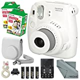 Fujifilm Instax Mini 8 White Camera and Deluxe Accessory Bundle with Instax Mini Films, Batteries and Charger, White Case, White Rabbit Selfie Lens, and More