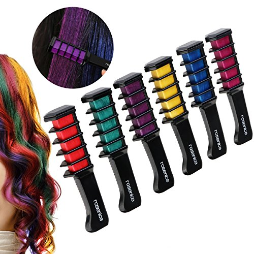 Rosenice Hair Chalk Comb Shimmer Temporary Hair Color Cream 6pcs