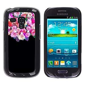 Rosas Negro Estrellas Flores rosas florales - Metal de aluminio y de plástico duro Caja del teléfono - Negro - Samsung Galaxy S3 MINI i8190 (NOT S3)