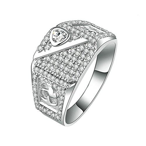 AmDxD Jewelry Silver Plated Men Promise Customizable Rings Square Width CZ Size 9