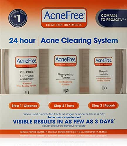 AcneFree 3 Step Acne Treatment Kit with Benzoyl Peroxide Oil-Free Acne Face Wash, Toner, and Benzoyl Peroxide Lotion for Acne Spot Treatment (60 day)