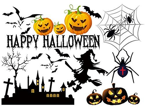 Grease Diy Costumes (Removable Happy Halloween Spooky Cemetery Witch and Bats Tomb Art Mural DIY Vinyl Waterproof Wall Stickers Kids Room Nursery Decal Sticker 27.5''x19.6'')