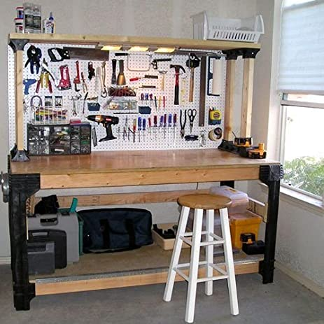 garage workbench units amazoncom workbench table kit diy bench custom storage wooden