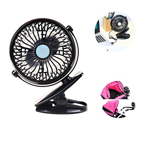 Battery Operated Clip on Fan Portable Handheld Powered by Rechargeable Battery or USB Personal Fan, Desk Fan, Desk Fans, mini fan, table fan ect Baby Pram Stroller Car (Clip On Fan Battery Powered compare prices)