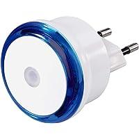 Hama Led-nachtlampje met schemeringssensor, energiezuinig oriëntatielicht voor het stopcontact, slechts 0,8 W, blauw