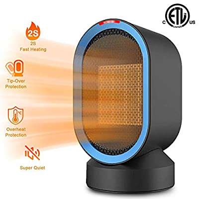 Sendowtek Personal Space Heater 2s Fast Heating Fan Quiet Electric Ceramic Heater for Indoor Office Desktop Use PTC Portable Small Space Heater with Overheat & Tip-Over Protection for Home Bedroom