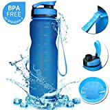 SOKLIT Sports Water Bottle with Strap, Portable BPA Free Drinking Cup 36oz/1000ml, Flip Top Leak Proof - 0.51lb Plastic Bottles for Gym Outdoor Hiking Camping Height 11'' Diameter 2.95'' Blue