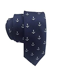 AINOW Mens Classic Skinny Tie Fashion Woven Silk Necktie (Anchor Pattern)