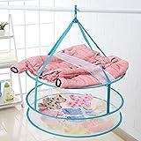 YJYS LJBY Tile Deformation Double Layer Laundry Basket Wrinkle Split Washing Basket A Clothes Net