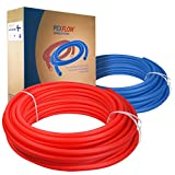 Pexflow PEX Potable Water Tubing Combo - PXKT-RB50012 1/2 Inch X 500 Feet Tube Coil for Non-Barrier PEX-B Residential & Commercial Hot & Cold Water Plumbing Application (1 Red + 1 Blue)