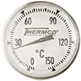 Thermco ACCG150C Bi-Metal Dial Laboratory Thermometer, 1-3/4'' Dial Size, 8'' Stems with No Cover, 0° to 150°C Range, 1.0°C Division, 2'' Immersion