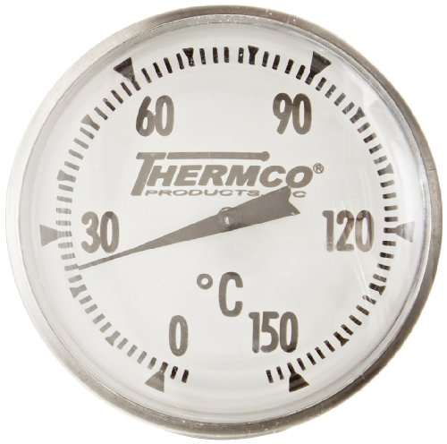 Thermco ACCG150C Bi-Metal Dial Laboratory Thermometer, 1-3/4'' Dial Size, 8'' Stems with No Cover, 0° to 150°C Range, 1.0°C Division, 2'' Immersion by THERMCO