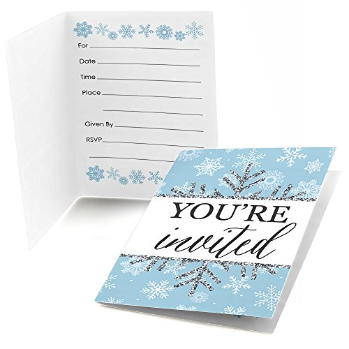 Winter Wonderland - Fill In Snowflake Holiday Party & Winter Wedding Invitations (8 - Snow Invitations Party