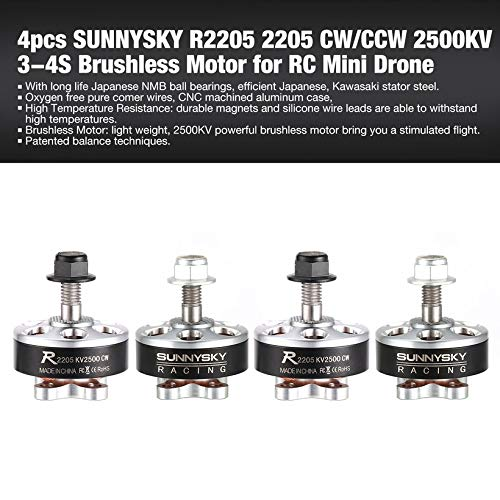 4pcs SUNNYSKY R2205 2205 CW/CCW 2500KV 3-4S Brushless Motor for RC Mini Drone by Wikiwand (Image #2)