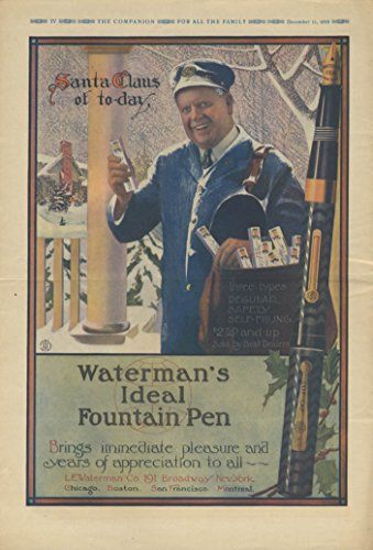 Mailman Santa Waterman Pen / Jell-O League of Nations Party Norman Price ad 1919 ()