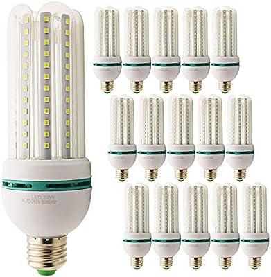 Pack de 15 bombillas LED E27 20 W=150 W Foco luz blanca fría ...