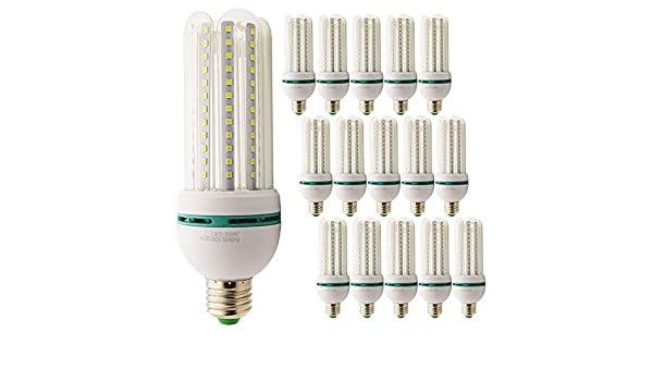Pack de 15 bombillas LED E27 20 W=150 W Foco luz blanca fría 6000 K larga duración LED de última generación, ultra luminosas y eficientes: Amazon.es: Iluminación