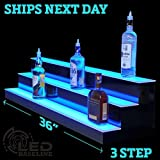 LED Lighted Liquor Display Shelf 36'' 3 Step