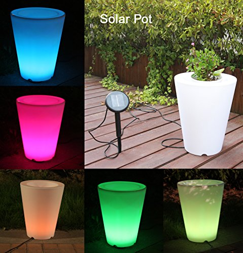 Solar Flower Pot Lights Led Planter Vase Lamp-garden Outdoor Yard Home Decoration Light- Landscape Lighting - Solar Illuminated Planter by ''Uni Best''