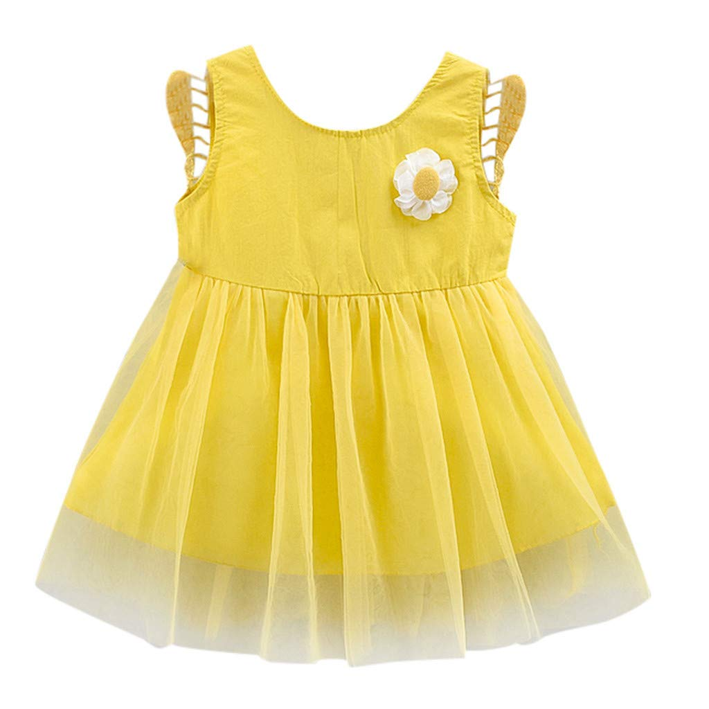 793dd6ba0 ❤ Mealeaf ❤ Toddler Kid Baby Girl 3D Floral Wing Tulle Party Princess Dress  Clothing(Yellow,90/XL): Amazon.ca: Home & Kitchen
