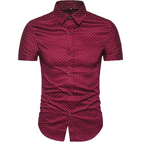 MUSE FATH Men's Printed Dress Shirt-100% Cotton Casual Short Sleeve Shirt- Interview Dress Shirt-Wine Red-XL