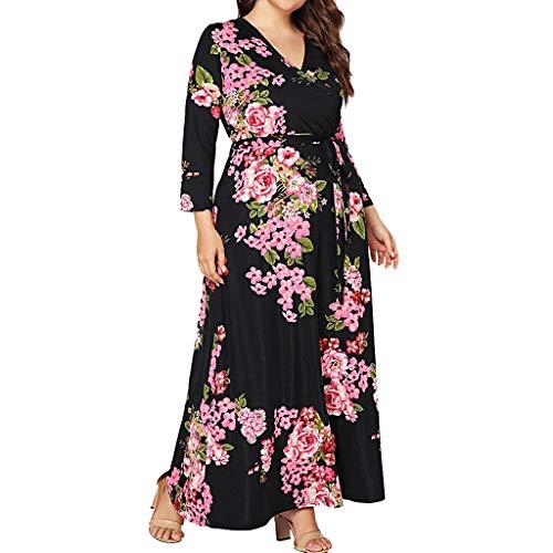 Plus Size Maxi Dress for Women Lovor Sale Boho Floral Long Sleeve V-Neck Wrap Empire Waist Flowy Dress Floor Length(Black,3XL) (Long Sleeve V Neck Dress Plus Size)