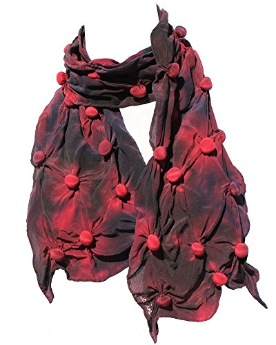 Bubble Shibori Silk Scarf Hand Painted in Red and Black