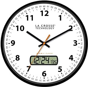 La Crosse Technology WT-3128U 12-Inch Atomic Analog Wall Clock with LCD