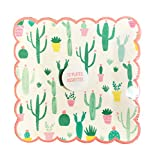 Whimsical Southwest Cacti Themed Scalloped Edge Square Novelty Paper Party Plates (9 x 9)