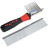 Dog Comb, SySrion Pet Grooming Comb Tool - Dog Rake Comb Trimmer Stainless Steel Dog Comb with