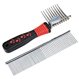 Sysrion Dog Comb, Pet Grooming Comb Tool - Dog Rake Comb Trimmer Stainless Steel Dog Comb with