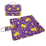 ALIREA Marine Octopus Pattern Picnic Blanket Tote Handy Mat Mildew Resistant and Waterproof Camping Mat for Picnics, Beaches, Hiking, Travel, RVing and Outings