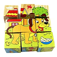 Foreen Cartoon 3D Animal Pattern Wooden Cubes Blocks Early Educational Kids Toy Best Gift for Children