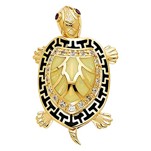 14K Yellow Gold Turtle Charm Pendant For Necklace or Chain 14k Yellow Gold Turtle Charm
