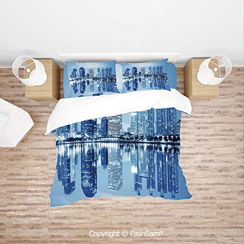 (FashSam Duvet Cover 4 Pcs Comforter Cover Set Night Scene of City Buildings Architecture Twilight Water Reflection Metropolitan for Boys Grils Kids(Double))