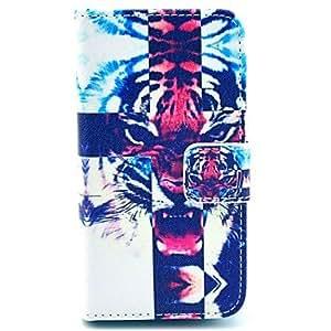 ZXM- el caso de cuerpo completo rugiente patrón de la cabeza del tigre de la PU de cuero para el iphone 4 / 4s