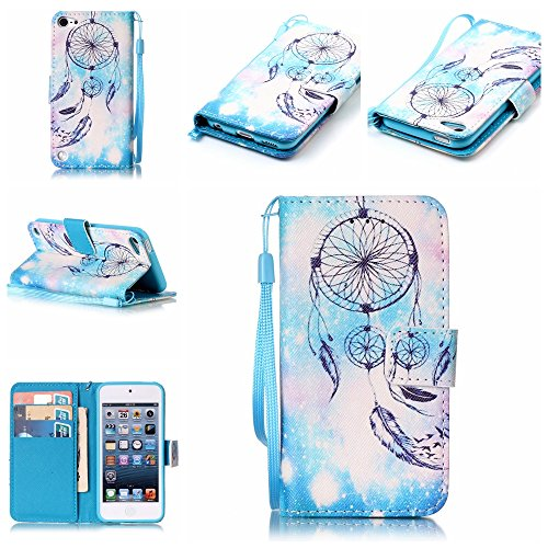iPod Touch 5 Case , iPod Touch 6 Case, Alkax Premium PU Leather Wallet Kickstand Magnet Flip Folio