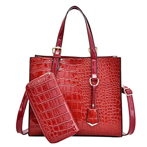 Women's Briefcase Patent Leather Crocodile Pattern Tote Adjustable Strap Magnetic Buckle and Zipper Design Tote Bag Elegant Vintage Ladies Crossbody Bag (Red)
