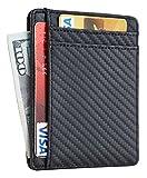 Travelambo RFID Front Pocket Wallet Minimalist Wallet Slim Wallet Genuine Leather(carbon fiber texture black)