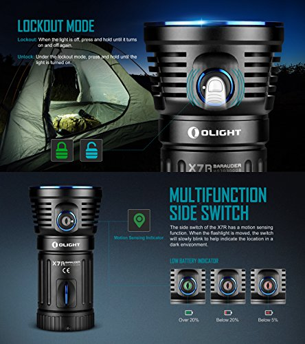 Olight X7R Marauder 12000 Lumens CREE XHP 70 LED USB Rechargeable Flashlight for Camping,Hunting,Searching,with 4 X 18650 Rechargeable Batteries (Built-in) and SKYBEN Accessory by SKYBEN (Image #4)