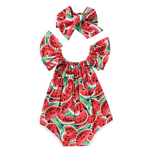 Vivostore Baby Rompers Bodysuit Watermelons Printed Ruffle Bodysuit With Headband Babygirls Clothes (Small)