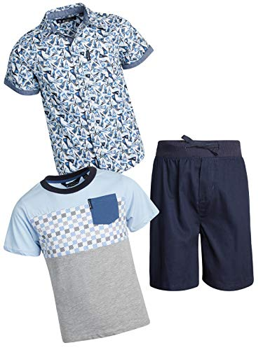 - Ben Sherman Boy's 3 Piece Drawstring Short Set with Woven Shirt and Tee, Navy/Navy/Grey, Size 4T'
