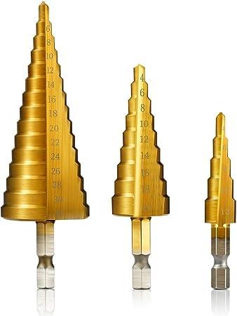 Foret /à pas en acier rapide HSS /à haute vitesse avec tige hexagonale pour le bois et la t/ôle de m/étal de 4 /à 32 mm 4 /à 20 mm 1.00V 3 /à 12 mm en option 4 /à 12 mm